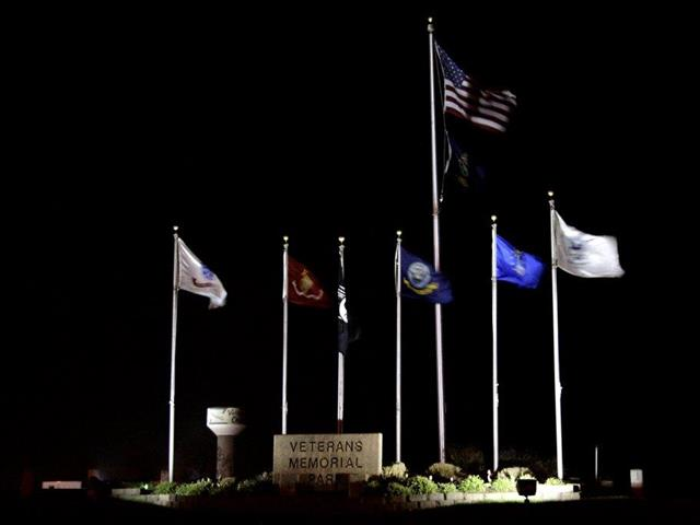 Veterans Park pictiure of Flag Plaza at Night