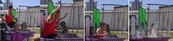 Council member Lou Cicirello takes a dip in the cold water of the dunk tank