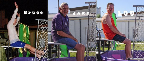 Council members Bruce Campbell, Jake Jackson, and Lou Cicirello in Dunk tank